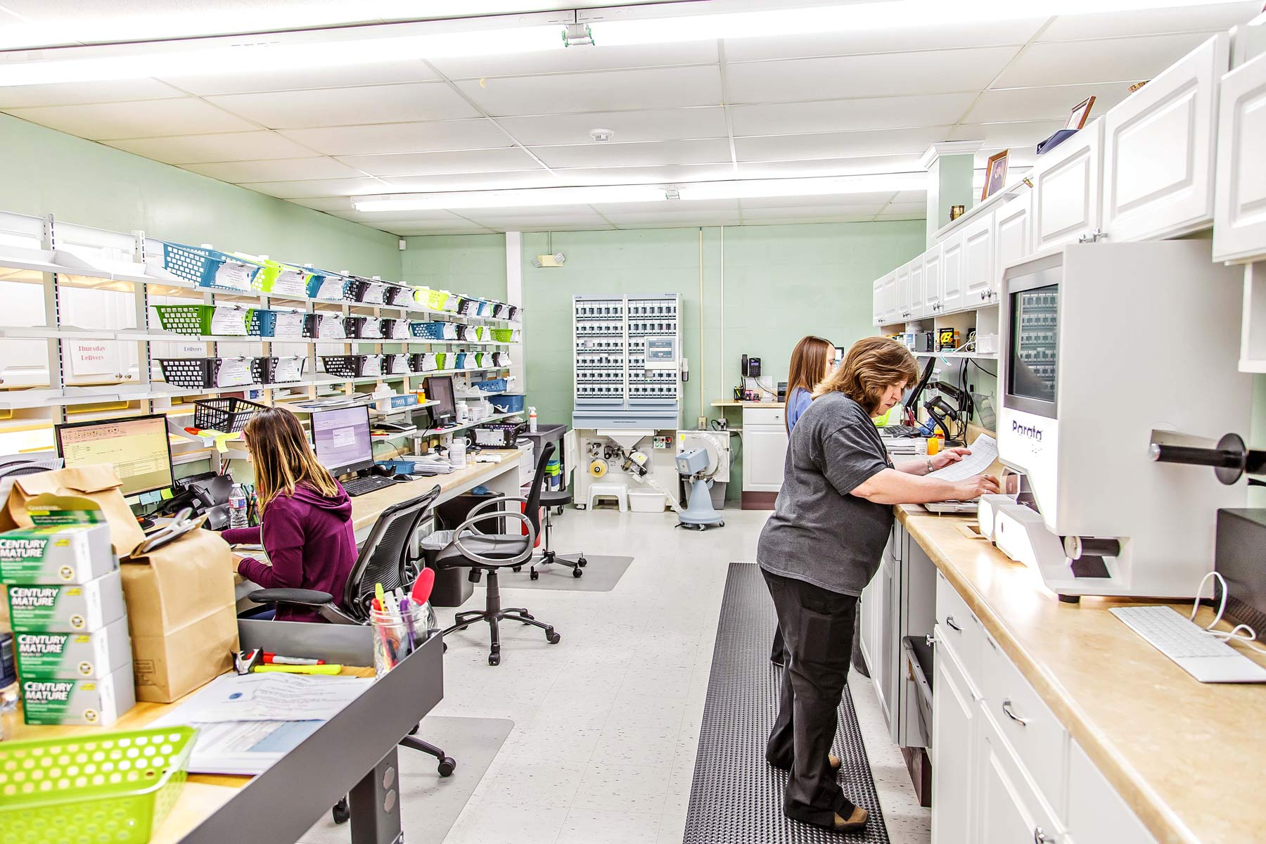 Wolfe's team works on fulfilling prescriptions for their patients