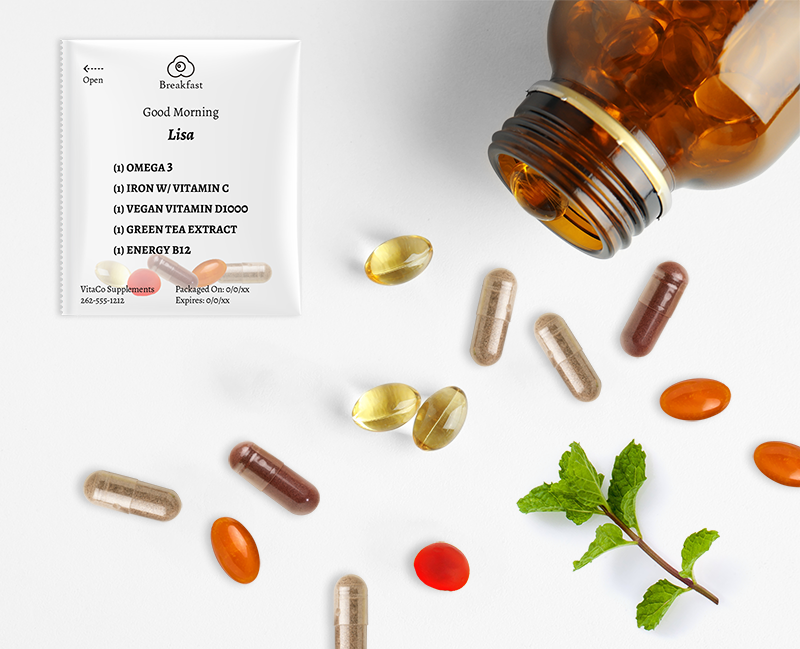 nutraceuticals vitamins supplements herbs in pouch