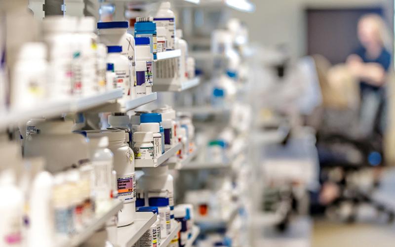 pharmacy inventory shelves